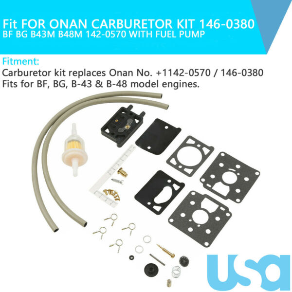 Fit FOR ONAN CARBURETOR KIT 146 0380 BF BG B43M B48M 142 0570 WITH FUEL PUMP