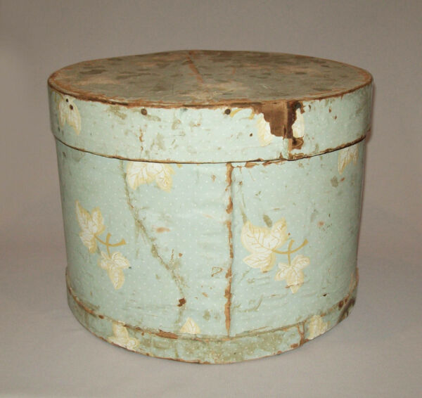 Old antique vtg 19th C 1850s Large Wallpaper Covered Wooden Box Nice Condition