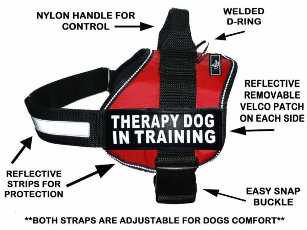Doggie Stylz THERAPY DOG IN TRAINING Dog Harness Vest Nylon 2 removable patches $25.99