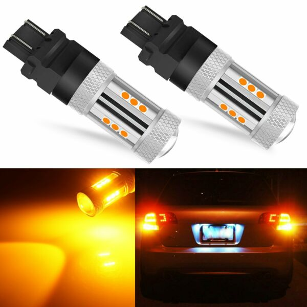 2x 3000LM 3157 Error Free High Power LED Amber Yellow Turn Signal Light Bulbs