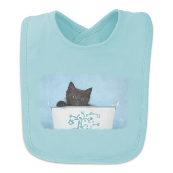 Black Kitten Cat in Bucket Tin Pail Baby Bib
