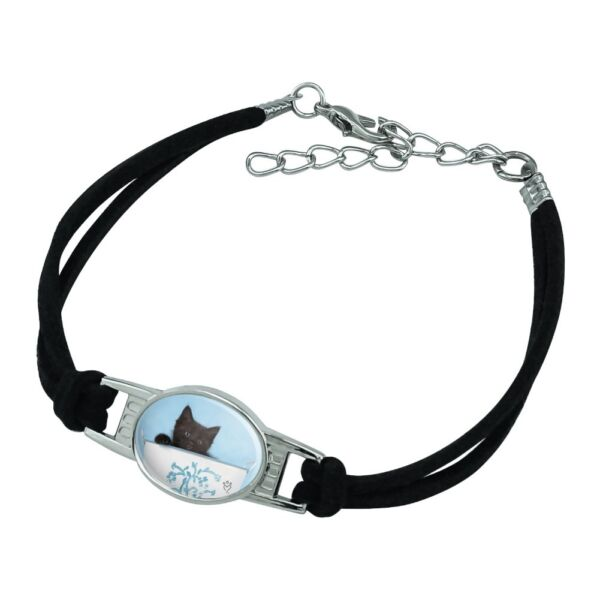 Black Kitten Cat in Bucket Tin Pail Novelty Suede Leather Metal Bracelet