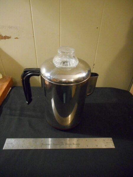 Vintage Rare Revere Ware Copper Clad stainless coffee Percolator stove top camp