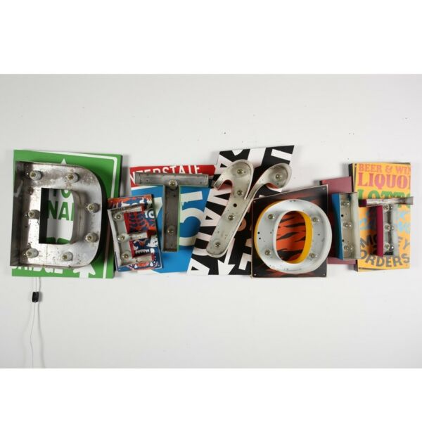 DENIAL Original Art - Detroit Sign - Hand Painted Street Art Banksy RARE