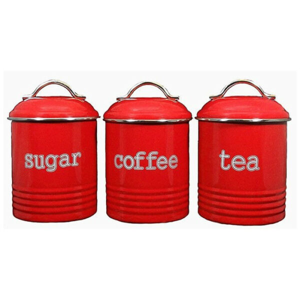 D.LINE Colonial Set of 3 Metal TeaCoffeeSugar Canisters Storage Tins 1L Red!