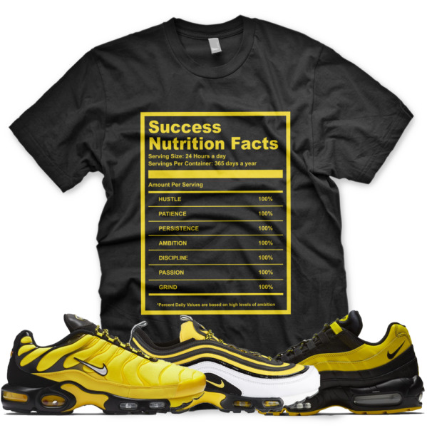 New SUCCESS FACTS T Shirt for Nike Air Max Plus 97 95 Frequency Pack Yellow
