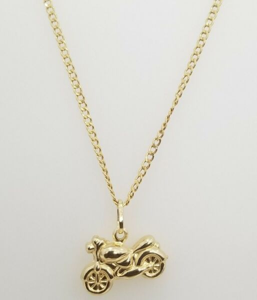 Real 14K Yellow Gold Heavy Bike Double Sided Pendant Charm 20quot; Cuban Chain Set $269.95