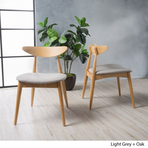 Issaic Mid-Century Design Wood Dining Chairs (Set of 2)