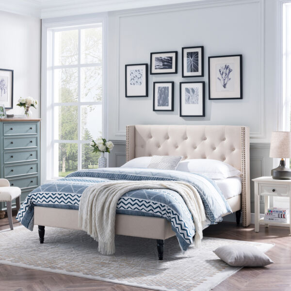 Ray Contemporary Rhinestone-Tufted Wingback Queen Bed Frame with Nailhead Trim $430.90