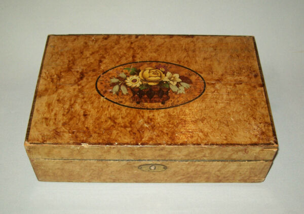 Antique vtg 19th C 1840s Folk Art School Girl Box Academy Paint Decorated Beauty