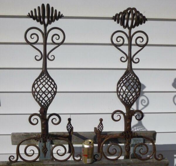 Antique Maritz and Young Fire Place Custom Cast Iron Andirons Vintage RARE