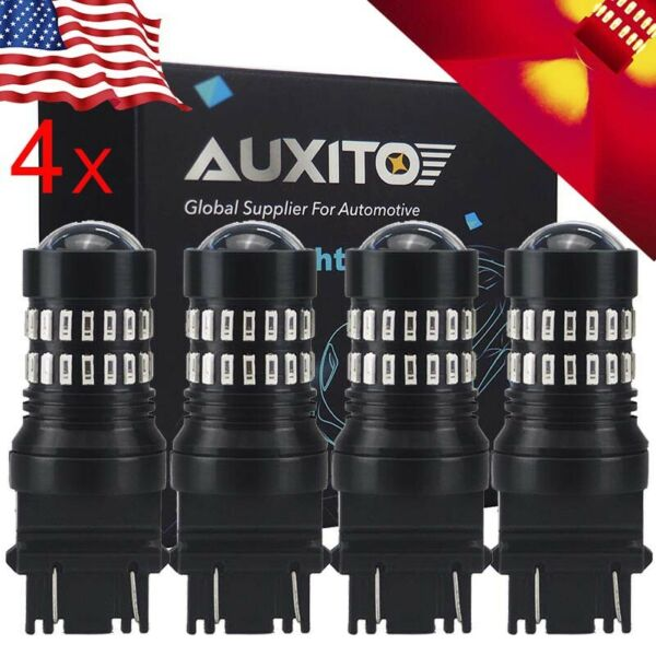 AUXITO 4X 3157R 3457 3156 High Power Red LED Brake Stop Tail Light Bulbs 48CHIPS