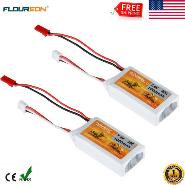 2x 2S 7.4V 1000mAh 20C Lipo Battery JST for RC Airplane Car Drone Helicopter US