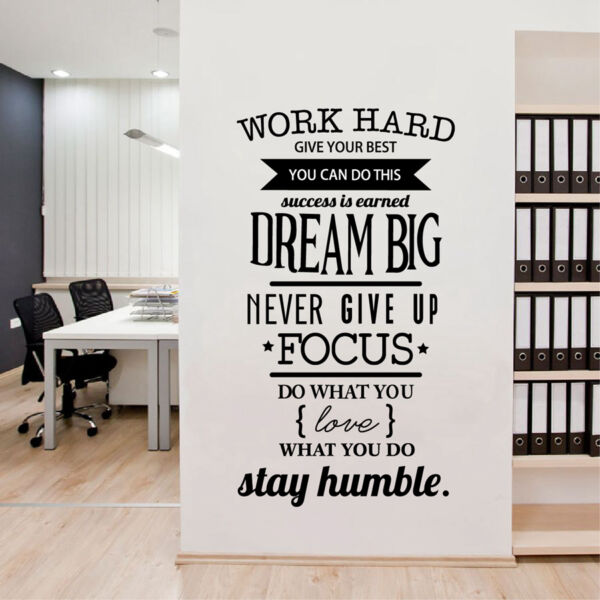 Office Motivational Quotes Wall Sticker Never Give Up Work Hard Vinyl Wall Decal