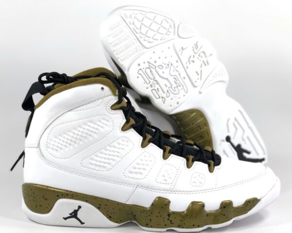 Nike Air Jordan 9 Retro Statue White Black Militia Green 302370-109 Men's 12