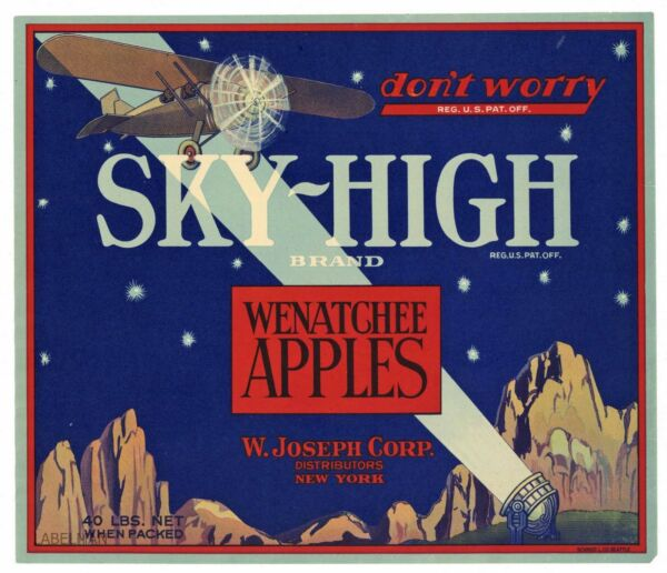 SKY-HIGH Brand Airplane Spotlight *AN ORIGINAL APPLE CRATE LABEL* 013 red box