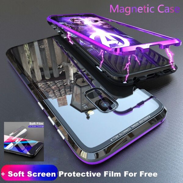 Samsung Galaxy S8 S9 S10 Note 10 Plus Magnetic Absorption Back Glass Case Cover