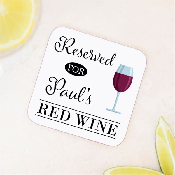 Personalised Red Wine Wooden Drinks Coaster Mat Birthday Gift Present