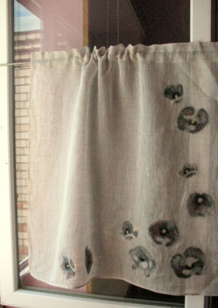 Curtain Burlap Curtains Cafe Curtains Natural Gray Red Poppy Washed Linen Curtai