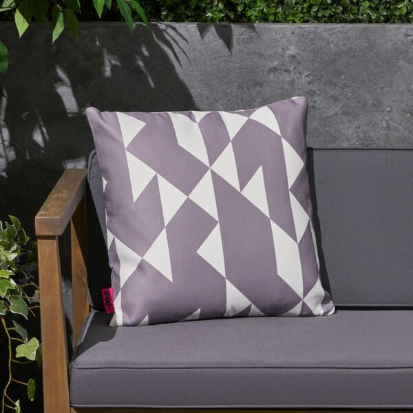 Mayme Outdoor Cushion 17.75quot; Square Abstract Geometric Pattern White Gray $42.15