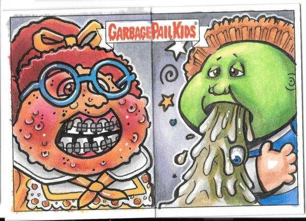 Topps 2017 Garbage Pail Kids DUAL PANORAMIC Sketch Card GPK Pano GilesWilliams