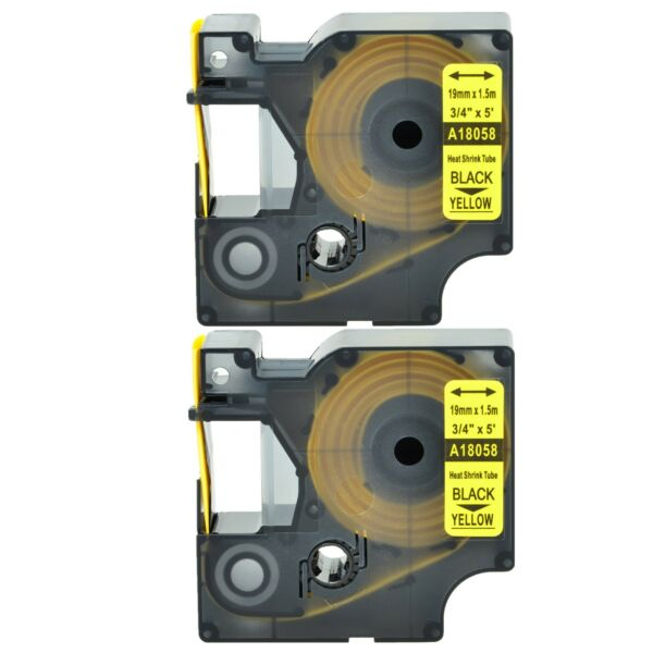 2 Heat Shrink Tube Label IND Tape 18058 For Dymo Rhino 3M PL200 PL300 PL150 3 4quot; $14.99