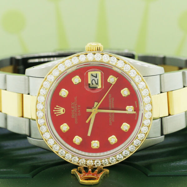 Rolex Oyster Perpetual Date 2-Tone Gold SS 34mm w MOP Red Diamond Dial Bezel