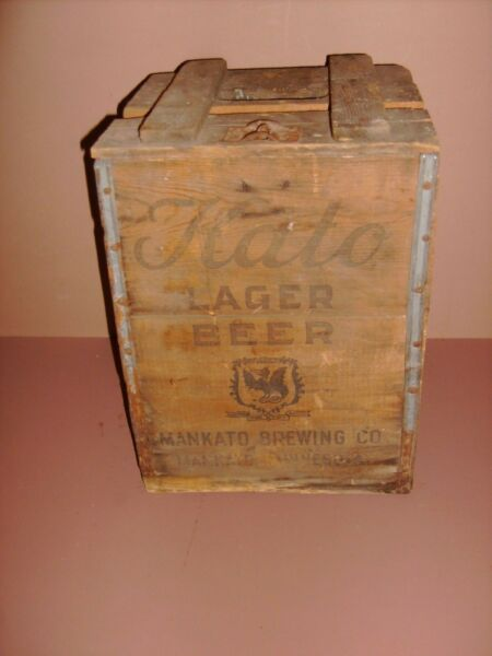KATO LAGER BEER CRATE FOR LARGE PICNIC BOTTLES ANTIQUE SHIPPING WOOD BOX