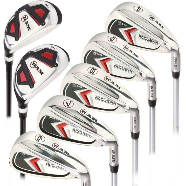 Ram Golf Accubar Mens Right Hand Iron Set 6 7 8 9 PW FREE HYBRID INCLUDED