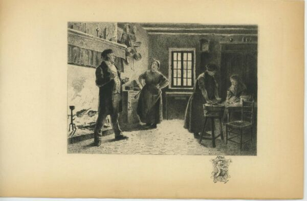 ANTIQUE WOMAN GIRL COOKS COOKING FIREPLACE CREST SHIELD REMARQUE ETCHING PRINT
