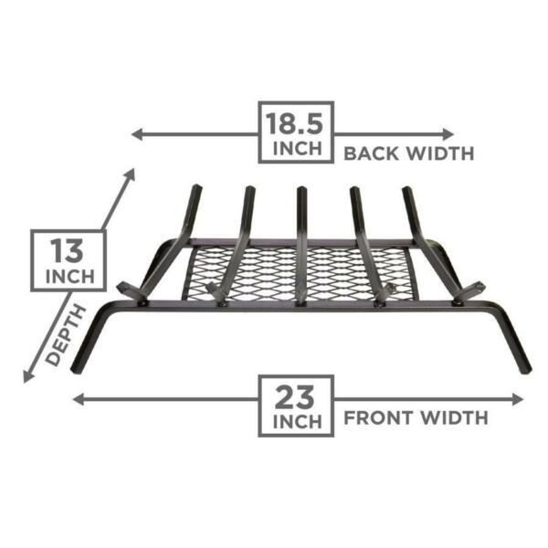 Grate 12-in Steel 23-in 5-Bar Fireplace with Ember Retainer Fire Wood Hearth 1