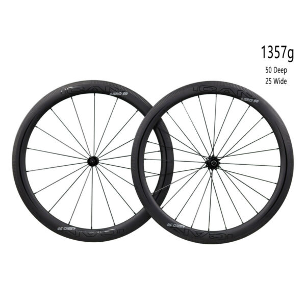 ICAN 2019 AERO50 Carbon Straight Pull Road Bike Wheelset T800&T700 Only 1357g