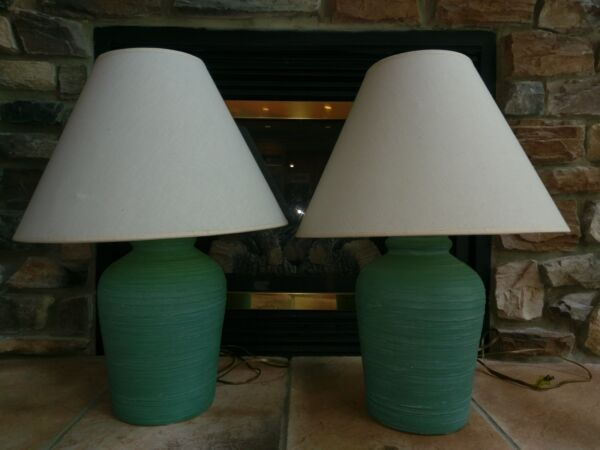 Pair Vtg ELITE Sign Pottery Ceramic Solid Aqua Turquoise Blue Modern Table Lamps