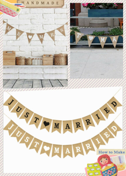 Burlap JUST MARRIED Wedding Banner Mr Mrs Rustic Party Decoration Anniversary