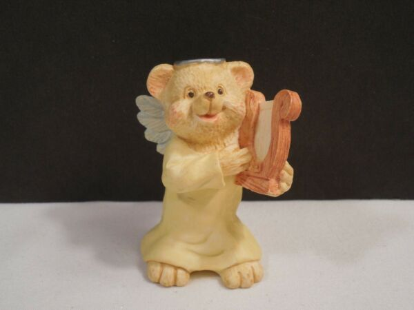 1995 Angel Teddy Babies Angel Bear Playing A Harp Figurine ~ 2 14