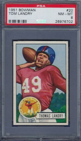 1951 BOWMAN NO. 20 TOM LANDRY ROOKIE CARD (HOF) PSA 8 NEAR MINTMINT