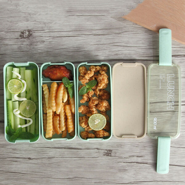 Lunch Box Leakproof Microwave Food Container Wheat Straw 3 layer Bento Box 900ML