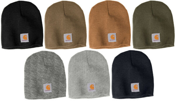 Carhartt Acrylic Beanie Knit Men#x27;s Stocking Cap Warm Winter Hat Authentic