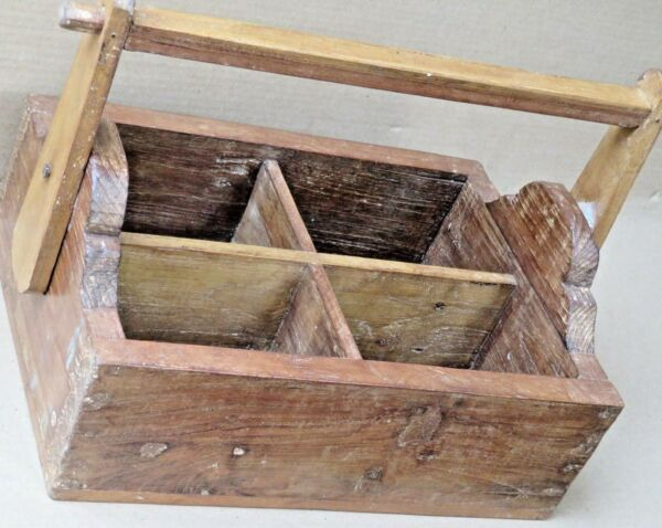 Wine Bottle Caddies Holders Wood Compartment Crates Basket shopper farmer tray 3