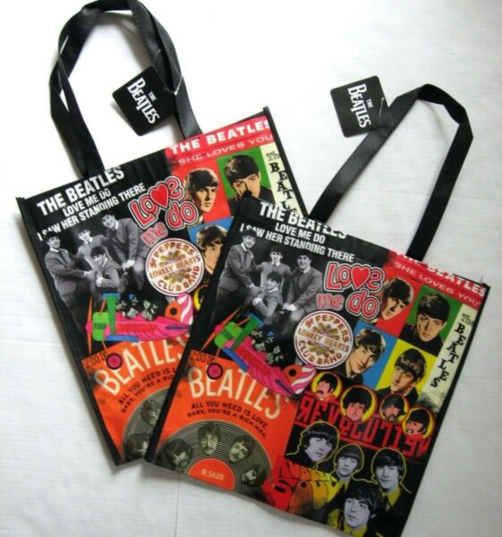The Beatles 2 Tote Bags Collage Eco Friendly Reusable Large Shopper Vandor New
