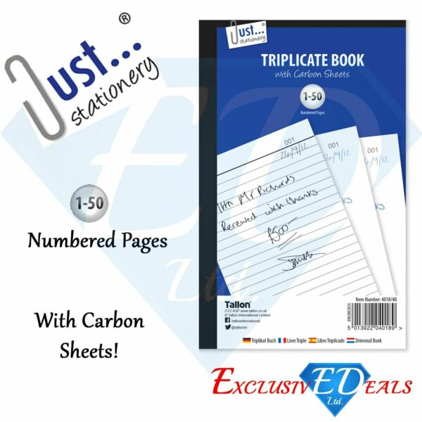A5 Full Size Triplicate Book With Carbon Sheets Numbered 50 Page GBP 2.45