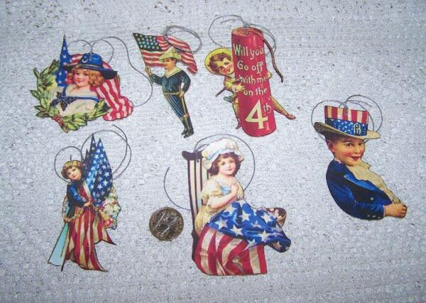 6 Vintage 4th of July Patriotic Glitter Fussy Cut Linen Cardstock Gift Hang Tags