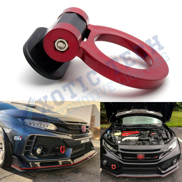 Red Ring Track Racing Tow Hook Look Decoration for Honda Civic Accord Odyssey
