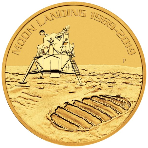 2019 - 1oz Gold Moon Landing 50th Anniversary BU - Low Mintage