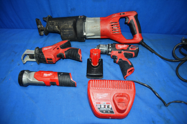 Milwaukee M12 Power Tool Set w/ Corded Sawzall GREAT WORKING CONDITION USED