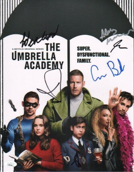 THE UMBRELLA ACADEMY Cast x6 Hand Signed quot;Aidan Gallagherquot; 11x14 Photo JSA COA