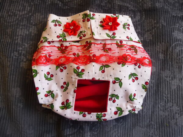 White with Red Cherries Dog Female Diaper Panty Adjustable Carols Crate Covers $9.86
