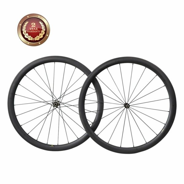 40mm Deep Straight Pull Road Bike Wheelset 700C Carbon Clincher Tubeless Ready