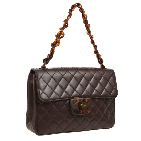 Auth CHANEL Quilted Jumbo Plastic Chain Shoulder Bag Dark Brown Leather A39588