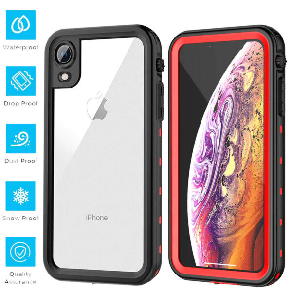 For iPhone XR Waterproof Case Clear Shockproof Snow W Built-in Screen Protector